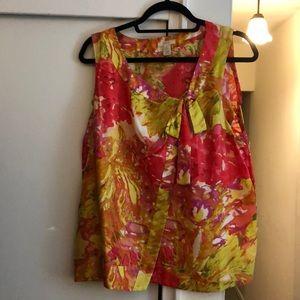 J.Crew floral print silk SL bow blouse